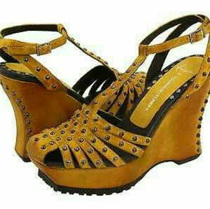 Donald J Pliner Yellow Studded Wedges